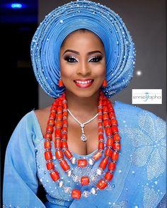 "16k Likes, 71 Comments - Africa's Top Wedding Website (@bellanaijaweddings) on Instagram: ""Still    Gorg in Blue! Bride, Damilola!  Makeup: @ennieyapha  Asooke: @trsasooke  #BellaNaijaWeddings"""