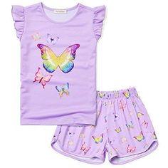 Pajama Party Kids, Pajama Set, Purple Butterfly, Butterfly Pattern, Cat Pattern, Cotton Sleepwear, Cotton Pyjamas, Pajama Outfits, Pajama Shorts