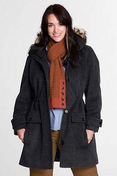 Women's Plus Size Faux Fur Hood Wool Parka from Lands' End $125 marked down