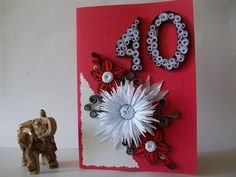 Birthday 40 Anniversary Quilling card, Greeting card, Quilled Birthday card, Handmade Quilling Card, Card for her,Handmade card de HandmadeTedy en Etsy