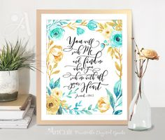 Printable Wall Art instant digital download Bible Verse inspirational quote scripture artwork, Jeremiah 29:13, Home decor, ArtCult designs by ArtCult on Etsy
