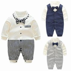 76fe3cf286a5 2018 New Baby Boy Rompers Cotton Bow Tie Gentleman baptism Clothing Spring  Toddler Prince Costume Infant