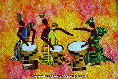 Afrikaanse drummer Art Quilt klaar voor schip Zoals te zien