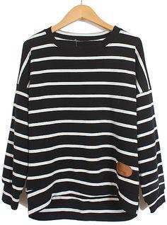 Black Long Sleeve Striped Contrast PU Leather T-Shirt US$21.31