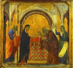 ca. 1308-11 - 'The Presentation in the Temple' by Duccio di Buoninsegna (Italian, 1255-60 - 1318-19), wood, tempera. Protorenaissance