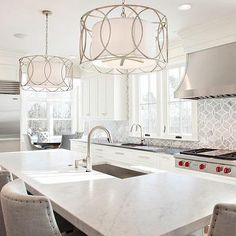 New England Design Works  Kitchens  Sausalito Five Light Magnificent Chandelier Kitchen Inspiration