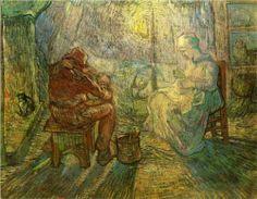 Evening - The Watch (after Millet)  1889. Vincent van Gogh