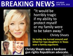 Christy Sheats gunned downed her two daughters over a family argument and then was shot & killed by a police officer when she did not put her weapon down.