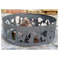 Amazon.com: 48 Inch Fire Ring - Wolves Steel Fire Pit: Patio, Lawn & Garden