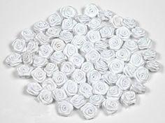fleurs en satin 1.5 cm de diametre sachet de 20 fleurs a coudre ou a coller mariage deco scrapbooking (blanc 029)