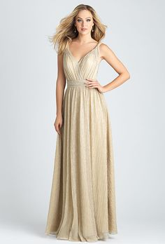 Allure Bridesmaids. Shimmering gown with retro silhouette. Pictured in Gold.