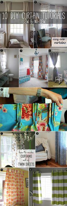 10 fantásticos tutoriales cortina de DIY.  Coser y sin costuras!