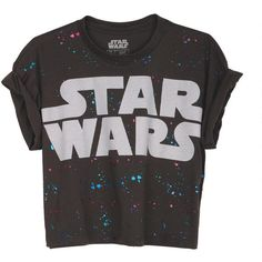 Splatter Star Wars Crop Tee (19 BRL) ❤ liked on Polyvore featuring tops, t-shirts, shirts, crop tops, graphic tees, graphic crop tops, metallic top, t shirts, metallic t shirt and shirts & tops