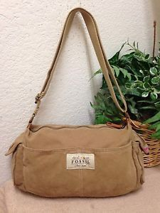 508f1e2099a8 Fossil 1954 Classic Brand Brown Tan Canvas Leather Trim Crossbody Bag  Handbag VG