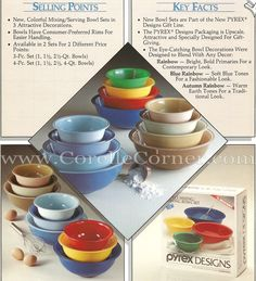 Pyrex Rainbows Decorated Bowl Sets, image from 1986 brochure
