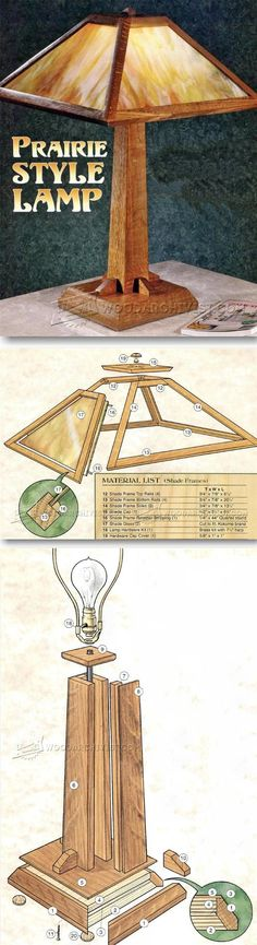 Prairie Table Lamp Plans - Woodworking Plans and Projects - Woodwork, Woodworking, Woodworking Plans, Woodworking Projects Woodworking Lamp, Woodworking Projects Diy, Teds Woodworking, Easy Wood Projects, Furniture Projects, Project Ideas, Craftsman Furniture, Craftsman Lamps, Deco Originale