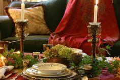 vignette design: An Indian Inspired Fireside Tablescape