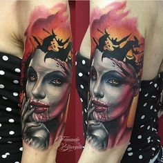 Gorgeous work by Fernando Bisceglia. #inked #inkedmag #tattoo #horror #colorful #blood #idea #awesome