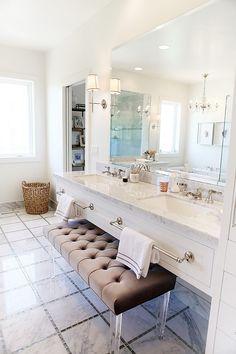 Bathroom Vanity Ideas. Floating Bathroom Vanity with Marble and large towel bars