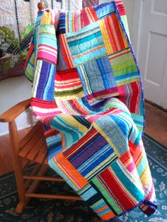 Striped Blocks Twin Quilt by uniquelynancy on Etsy