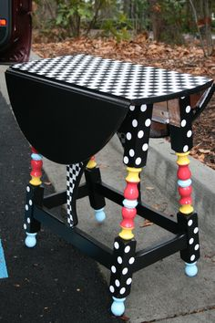 Find an old little table in a second hand or thrift store and bring it back to life with a little bit of paint! by latasha is part of Painted furniture - Whimsical Painted Furniture, Painted Chairs, Hand Painted Furniture, Funky Furniture, Refurbished Furniture, Colorful Furniture, Paint Furniture, Repurposed Furniture, Furniture Projects