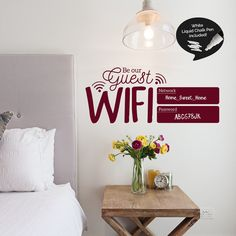 This Wireless network and wifi password sign will be the perfect addition to your guest room or lounge area. This way you can always have it handy for when you have visitors that need to connect to the internet.  This sticker is the perfect solution for guest houses, hostels, hotels and airbnb apartments.  It comes in 12 different colours so you can match your decoration and 2 different sizes to choose from. Chalk pen included in white colour.  • WHAT'S INCLUDED • Wifi Password Sign Decal…