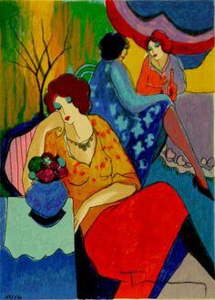 "This is a limited edition hand signed serigraph by Itzchak Tarkay titled ""QUIET AFTERNOON"". Medium: Serigraph on Whit. Art Commerce, Matisse, Art Academy, Pattern Illustration, Painting Patterns, Toulouse, Love Art, Painting & Drawing, Art Boards"
