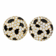 Pair of Gold, Diamond and Black Enamel Earrings, France  18 kt., the button earrings set throughout with 140 round diamonds approximately 4.20 cts., accented by fancy-shaped black enamel plaques, signed France, with maker's mark and French assay mark, approximately 12.5 dwts.
