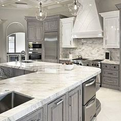 Gray Glamour! Check out the Cabinetry! That's Divine! Via..{ @lovefordesigns } tag someone special #gray#design#kitchen#food#love#weekend#family#friends#bestoftheday#picoftheday#law#protein#healthy#he#workout#sunday#lights#IG#tv#home#house#cherry#gorgeous#beautiful