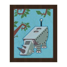 "Click Wall Art 'Robo Rhino' Framed Graphic Art Frame Color: Espresso, Size: 26.5"" H x 22.5"" W x 1"" D"