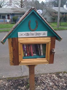 little free library~ i want to make one for my neighborhood. take a book for free, replace it with another book. great story behind the concept. <3