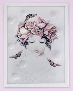 Fine art print One Sonny Day. Australian kids and children's art. Soft pink flower crown, lilac floral headdress, delicate antique lace embossing, pink purple butterflies, bubbles, bubble art, blowing bubbles. Perfect for wall art, little girls bedroom deco, children kids gifts, christening, baby shower, christmas present. Watercolour, painting, quote
