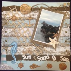 SUN, SAND & SEA - $20.  Using Bo Bunny Boardwalk collection, this is one of my favourite pages.  Comes with an assortment of embellishments as well as the brown ones that are fussy cut on the page.  Contact Deborah kitsandbits1@gmail.com Step By Step Instructions, Embellishments, Bunny, Scrapbooking, Sea, My Favorite Things, Brown, Frame, How To Make