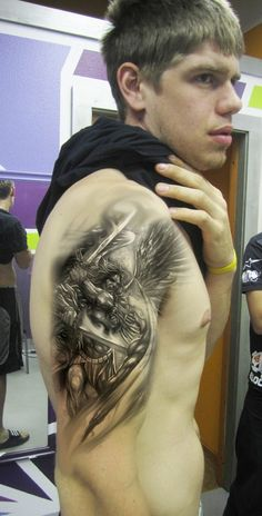 Warrior Angel Tattoos for Men | View More Tattoos Pictures Under: Angel Tattoos
