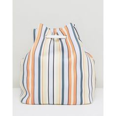 ASOS LIFESTYLE Striped Scuba Drawstring Beach Backpack (€31) ❤ liked on Polyvore featuring bags, backpacks, multi, day pack backpack, shoulder strap bags, polyester backpack, shoulder strap backpack and strap backpack