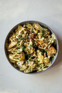 Roasted Cauliflower & Garlic Pasta with Lemon Tahini Sauce - Dishing Up the Dirt