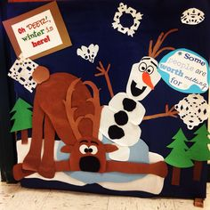 """Olaf and Sven from """"Frozen"""" door hanging"""