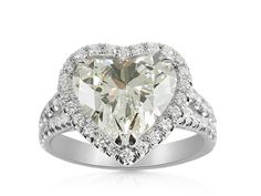 Alson Signature Collection Platinum Halo Split Shank Engagement Ring, Featuring a 3.02 Carat Heart Shaped Diamond, H Color, VS2 Clarity, GIA Certified, Accented with 86 Round Diamonds =.73cts Total Weight