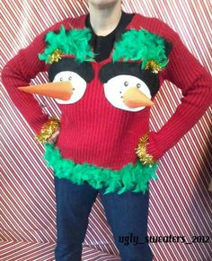Ugly Red Christmas Sweater Party Winner Naughty Pretty Funny Womens Mens Large | eBay Christmas Headpiece, Best Ugly Christmas Sweater, Christmas Diy, Ugly Sweater Contest, Diy Shirt, Being Ugly, Fancy Dress, Bing Images, Diys