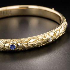 Victorian Bangle with Diamond - Vintage Jewelry Modern Jewelry, Metal Jewelry, Diamond Jewelry, Silver Jewelry, Emerald Bracelet, Gold Jewellery, Victorian Jewelry, Antique Jewelry, Vintage Jewelry