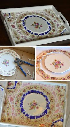 DIY Mosaic Trays - mozaik If you're looking for a mosaic project that's good for beginners and not too ambitious, a tray is a great place to start. Check out the step-by-step instructions for this fun DIY project! Mosaic Crafts, Mosaic Projects, Cool Diy Projects, Craft Projects, Project Ideas, Mosaic Tray, Mosaic Glass, Mosaic Tiles, Mosaics