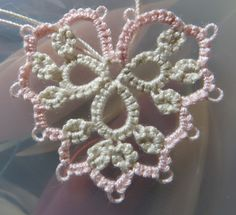 """Hearts pattern from Tatting Lace """"Asahi Original 424""""    Printed in Japan c.applemints 2013  Tatted with DMC Cebelia Crochet Coton Ecru + #818 Baby Pink"""