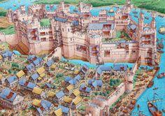 Amaaaaazing castle cutaways by Stephen Biesty. • Bodiam Castle in 1392 featuring preparations for a feast. • Krak des Chevalier in 1271 featuring the siege of Sultan Baybars. • Caernarfon Castle in...