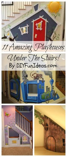 11 A-M-A-Z-I-N-G Kids Playhouses Under The Stairs! Tons more fun DIY ideas & inspiration at DIYFunIdeas.com