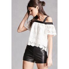 Forever21 Crochet Open-Shoulder Top ($35) ❤ liked on Polyvore featuring tops, white, forever 21, white short sleeve top, forever 21 tops, floral tops and floral print tops