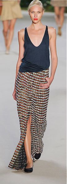 Akris. not crazy for the skirt print but love this look great deep v casual tank. love