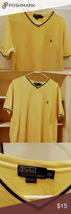 Vintage Ralph Lauren VNECK Polo shirt Butter Soft Yellow VNECK Polo Shirt Rarely Worn Decent condition...Rare Vneck Polo by Ralph Lauren Shirts Polos