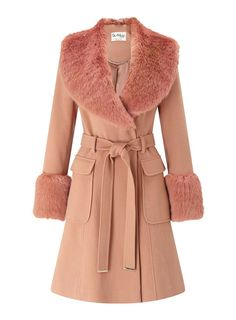 Buy Miss Selfridge Faux Fur Cuff Coat, Rose Pink from our Women's Coats & Jackets range at John Lewis. Red Faux Fur Coat, Pink Fur Coat, Faux Fur Collar Coat, Red Fur, Pink Coats, Petite Fashion, Uk Fashion, Sporty Fashion, Curvy Fashion