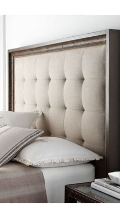 scandinavian wooden headboards - Google Search. Centre colour, fabric and design? Frame with blue stained natural wood? how to add on tables