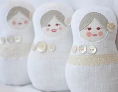 Matryoska dolls - with buttons and lace